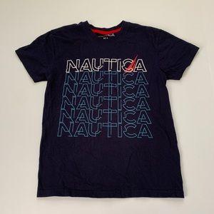 Nautica Blue Spellout Short Sleeved T-Shirt